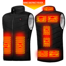 9-Heated Areas-Vest Clothing Electric Warm Winter USB Ski Jacket