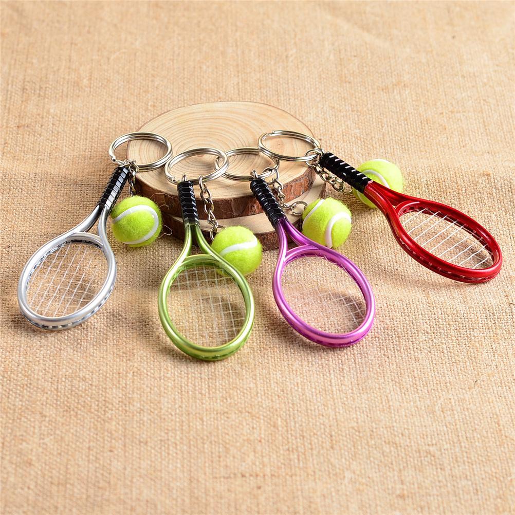 5 Colors Mini Tennis Sports Style Racket Keychain Key Ring Tennis Racquet Key Chain Key Holder Creative