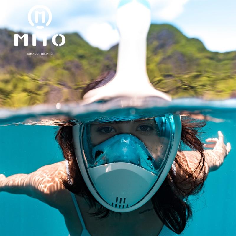 Diving Snorkeling Full Face Mask Underwater Swimming Anti Fog Panoramic Snorkel
