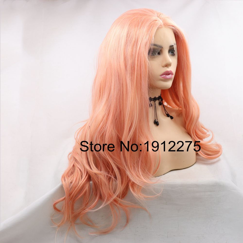 Sylvia Pink Synthetic Lace Front Wig Middle Part Body Wave Wigs For Women Heat Resistant Long Daily Wig Natural Look Cosplay Wig