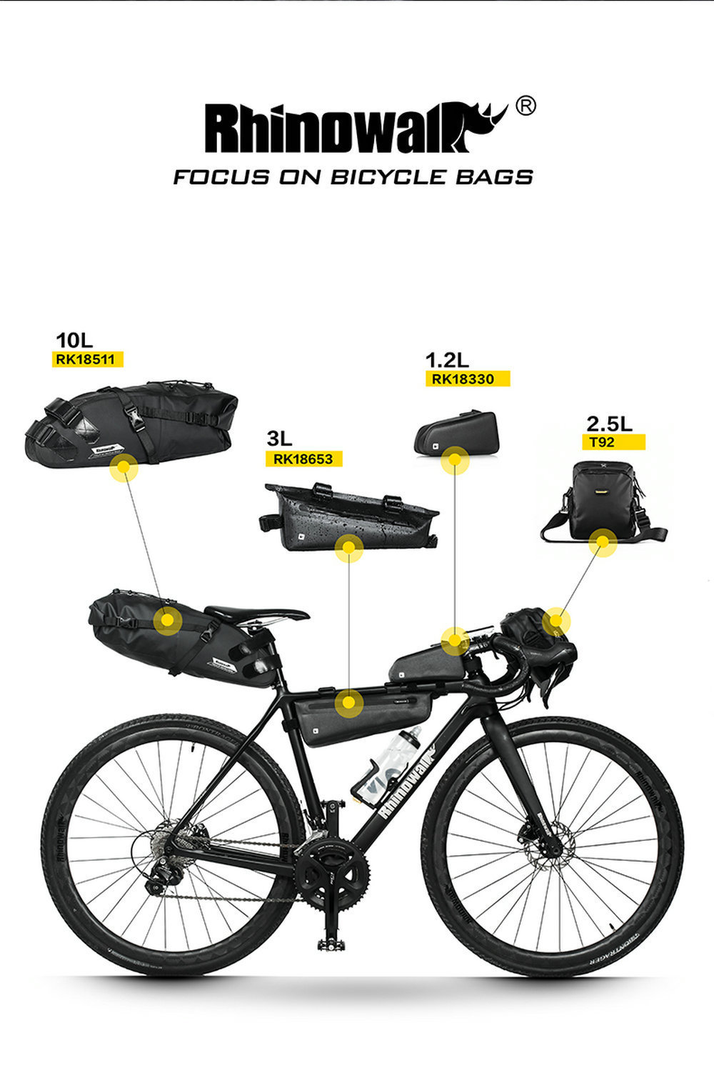 Rhinowalk Professional Road Bike Long Distance Cycling Bag Sets Waterproof Large Capacity for Bicycle Saddle Handlebar Tube Bags (2)
