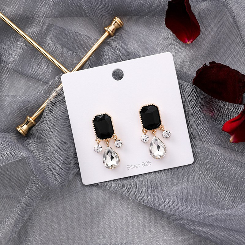 MENGJIQIAO 19 New Korean TV Star Elegant Shiny Rhinestone Drop Earrings For Women Metal Circle Crystal Oorbellen Party Jewery 3