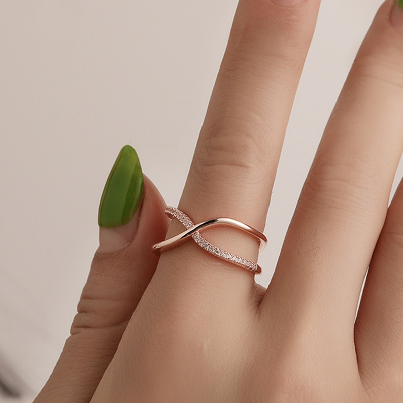 Fashion Cross Zircon Ring Fashion Female Jewelry Infinity Sign Women Rose Gold Rings for Party free Shipping