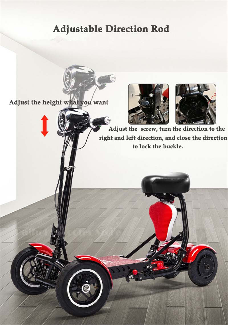 Daibot Electric Elderly Scooter 4 Wheels Electric Scooters 10 Inch 500W Foldable Electric Scooter For Disabled BlueBlackRed (18)