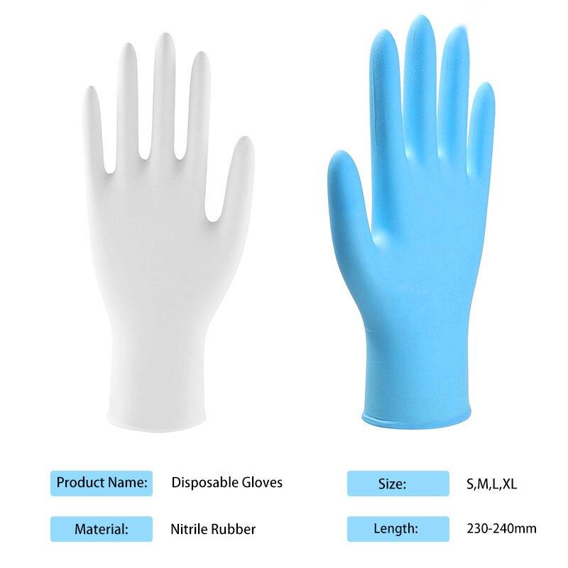 100 szt. Niebieskie białe jednorazowe rękawice ochronne gumowe rękawice domowe lateksowe zmywanie naczyń kuchenne ogrodowe rękawice nitrylowe -