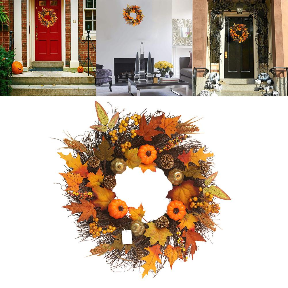Halloween Autumn Holiday Pumpkin Artificial Wreath Maple