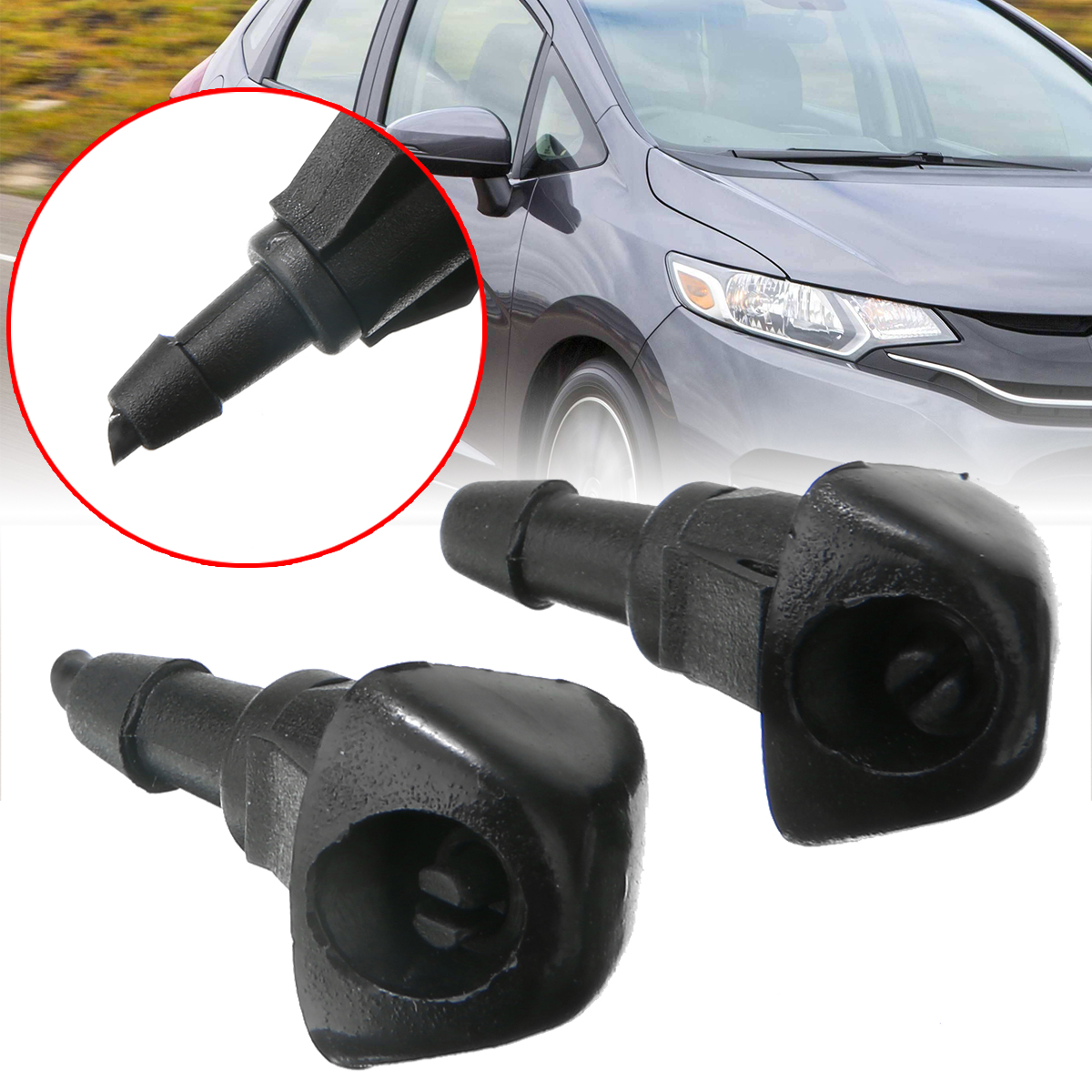 2pcs/set Car Glass Window Front Windscreen Washer Jet Spray Nozzle Jet Fit For Honda Accord Civic VII Jazz HRV CRV