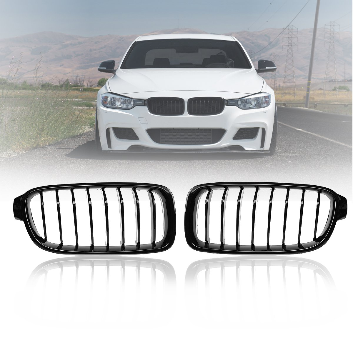 Front-Kidney-Grille Gloss Carbon Matt Black F30 F31 3-Series BMW Pair for Racing Grills title=
