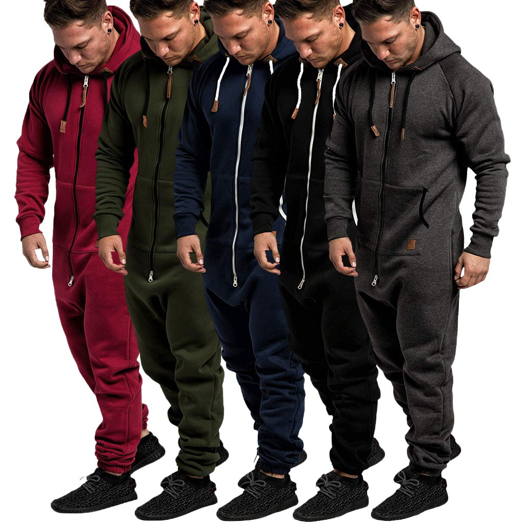 Hoodie Jumpsuit One-Piece Casual Zipper Winter Autumn Print Splicing Male Men Pure-Color title=