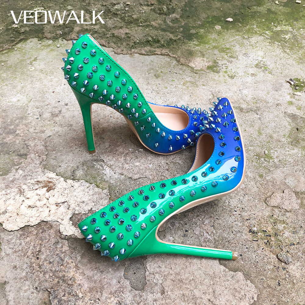 Veowalk Women Gradient Patent Leather Rivets High Heels Italian Sexy Ladies Stilettos Pointed Toe Pumps Chic Slip-on Party Shoes