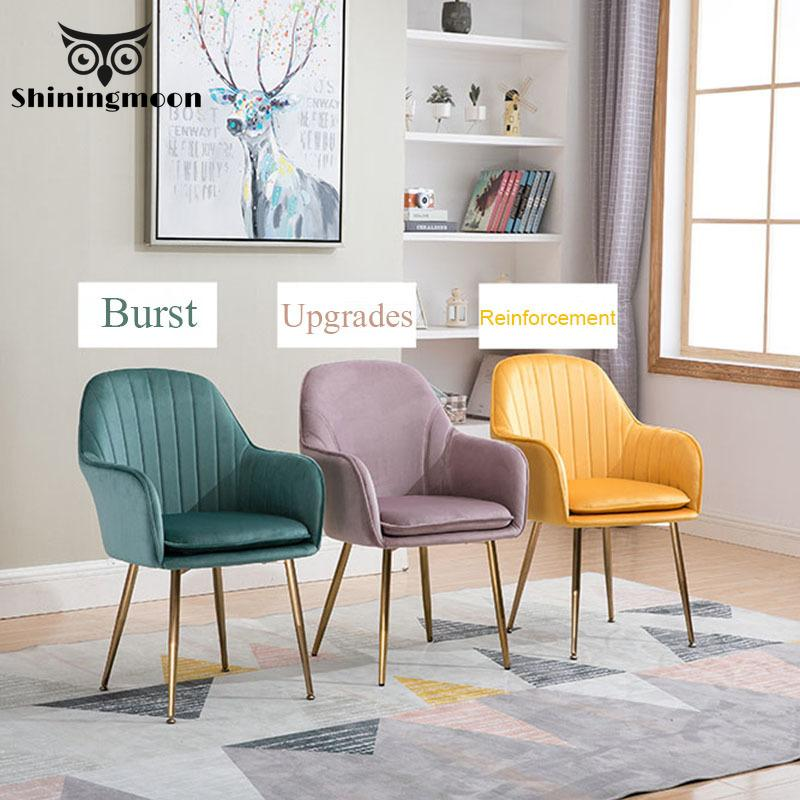 Nordic Luxury Dinning Room Chairs Orange Modern Fabric Chair Silla Para Maquillaje Bedroom Vanity Chair Meeting Computer Chair title=