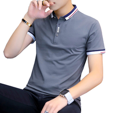 Polo-Shirt Short-Sleeve Collar Slim-Fit Sold-Color Plus-Size Casual Summer BROWON