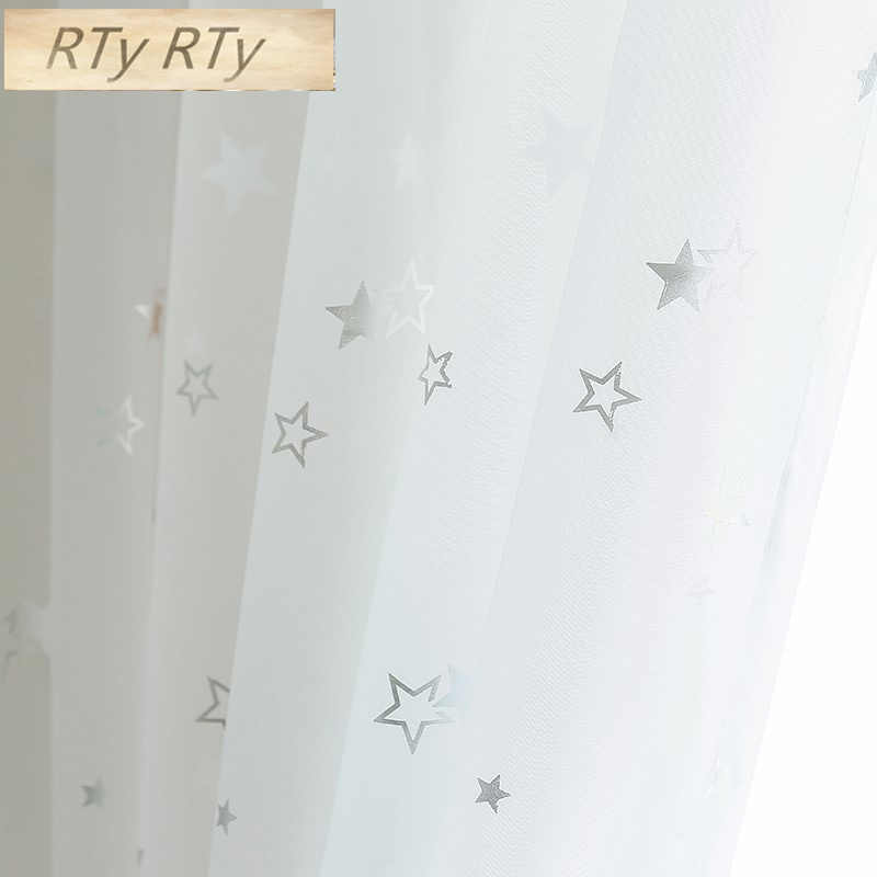 Light Shiny Sliver Star White Sheer Tulle Window Curtains For Living Room Bedroom Modern Yarn for Kid Room Drape