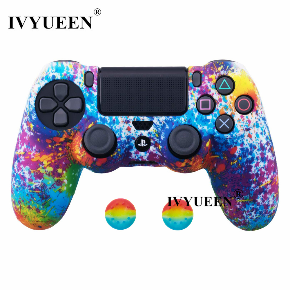 IVYUEEN 25 Colors Silicone Skin Case for Playstation Dualshock 4 PS4 Pro Slim Controller Protective Cover Thumb Joystick Grips