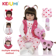 KEIUMI Reborn Baby Dolls Stuffed-Doll-Toys Birthday-Gifts Soft-Silicone Real Fashion