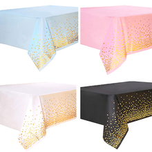 108*54 Inch Disposable Tablecloth Pink Dot PVC Oilproof Table Cover For Baby Shower Wedding Birthday Table Cloth Decoration