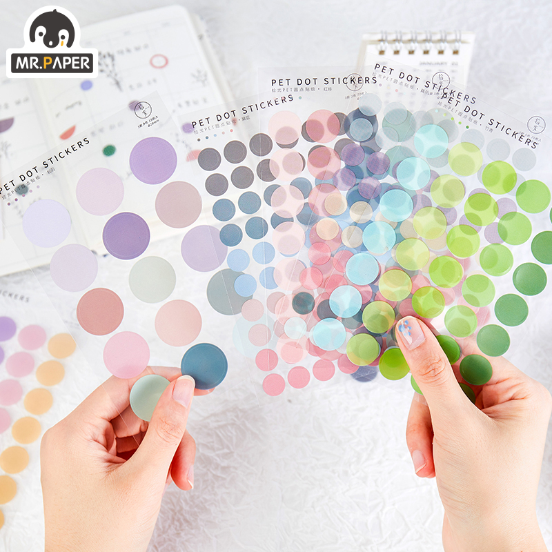 Mr.paper 6 styles 120pcs Sticker Light Time Multicolor Dot Deco Diary Washi Wove Sticker Scrapbooking Plan Decorative Stationery