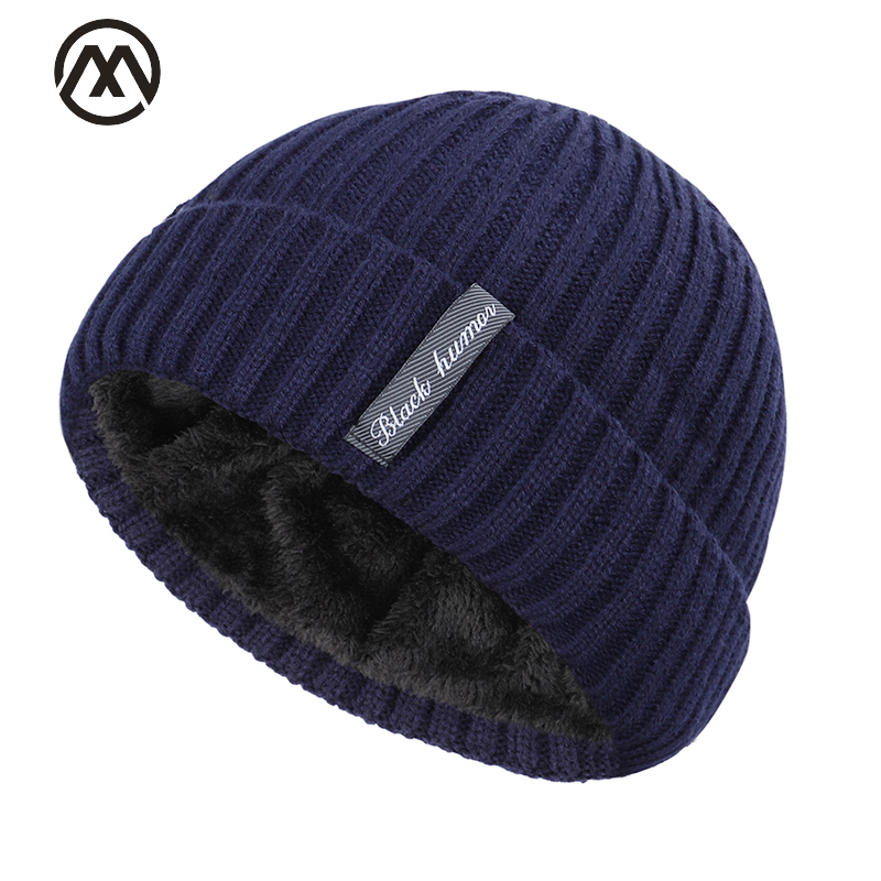 Winter Knitted Skull Beanie Hat Add Velvet Warm Caps Outdoors Unisex Hat