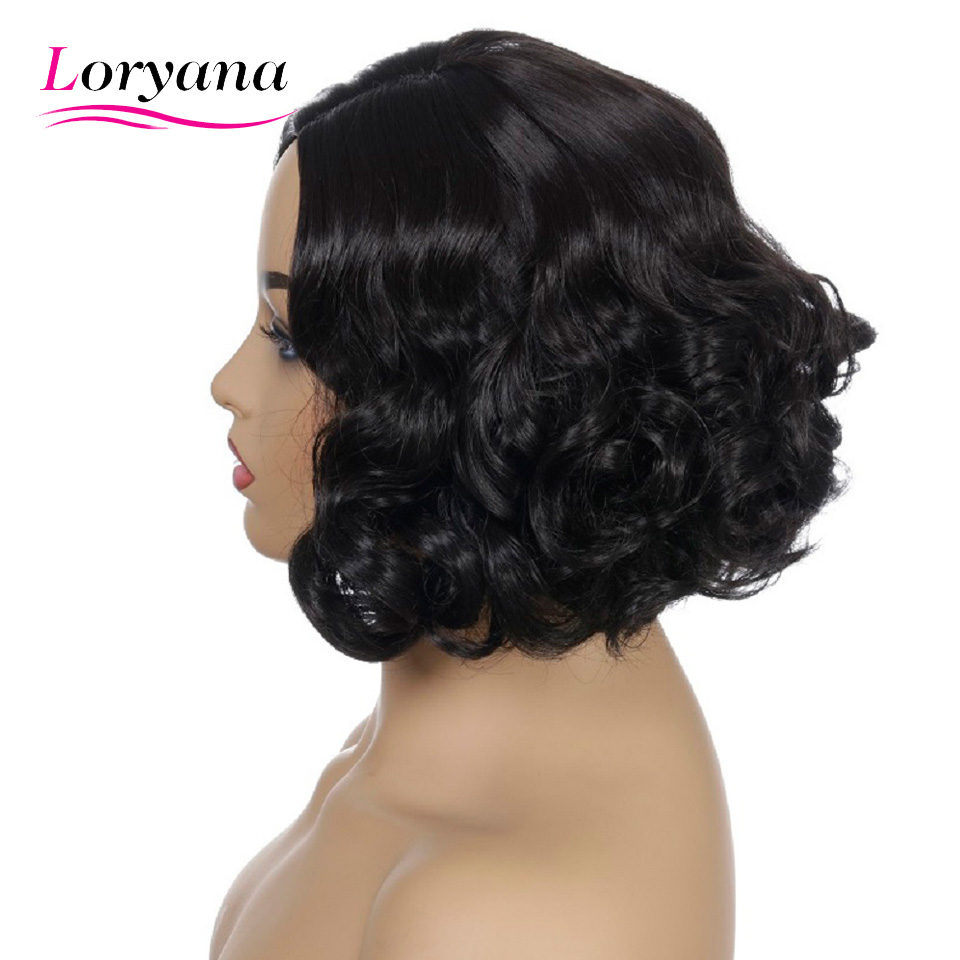 Loryana Synthetic Hair Black Short Wavy Wigs For White/Black Women Heat Resistant Fiber Daily Full False Curls Hair