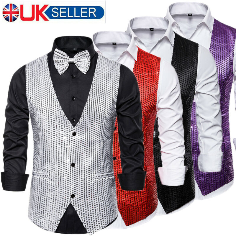 Imcute Vests Jacket Blazer Sequin Evening-Party-Suits Glitter Mens Fashion with Bow-Tie title=