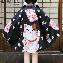 Japanese Kimono Traditional Anime Lucky Cat Women Cardigan with Blet Dress Summer Beach Yukata Man Female Korean Cosplay Clothes