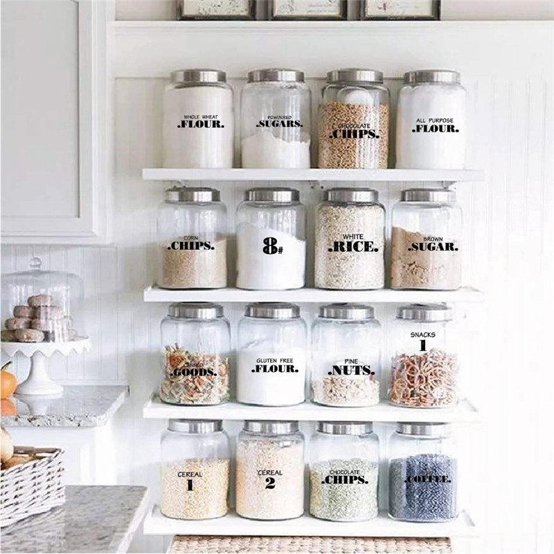"""Kitchen Storage Sticker For Jar Canister Labels Food Date 1X3/"""" Decal Any Text"""