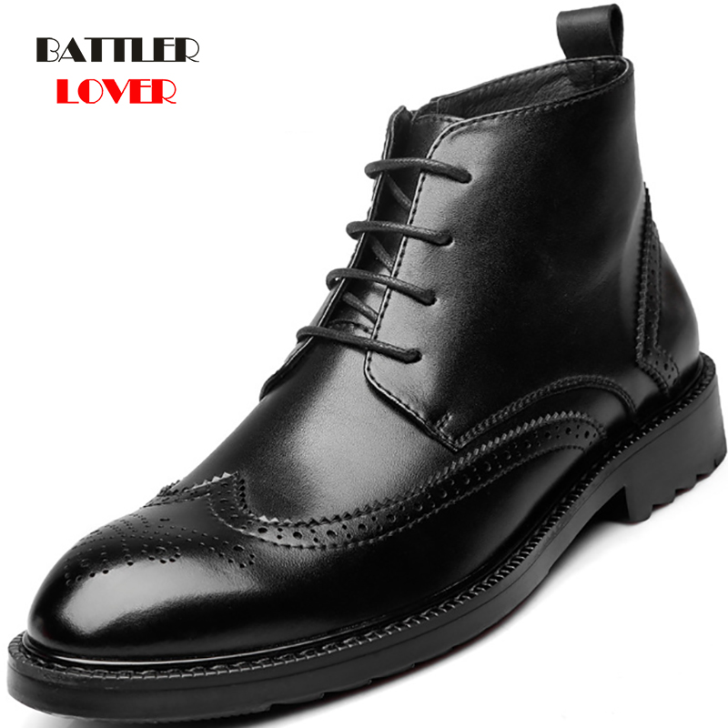 Male Black Brogue Genuine Leather Ankle Boots Men