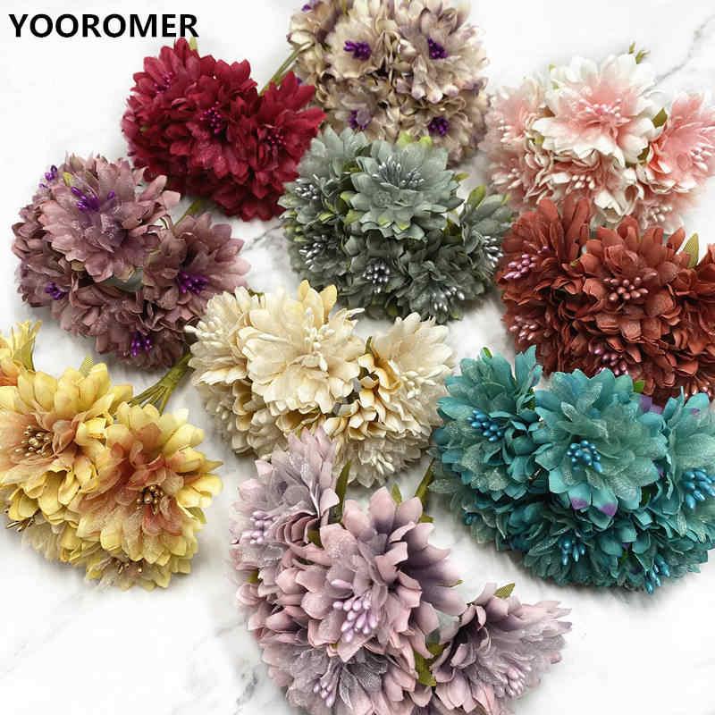 Rayón Seda Gerbera Crisantemo Flores artificiales Cabezas corona Accesorios
