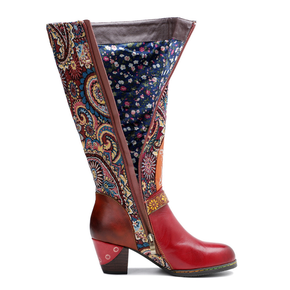 D Knight Luxury Boots Shoes Woman Retro Genuine Leather Casual Women's Knee High Boot Handmade Ethnic Female Western Cowboy Boot (8)