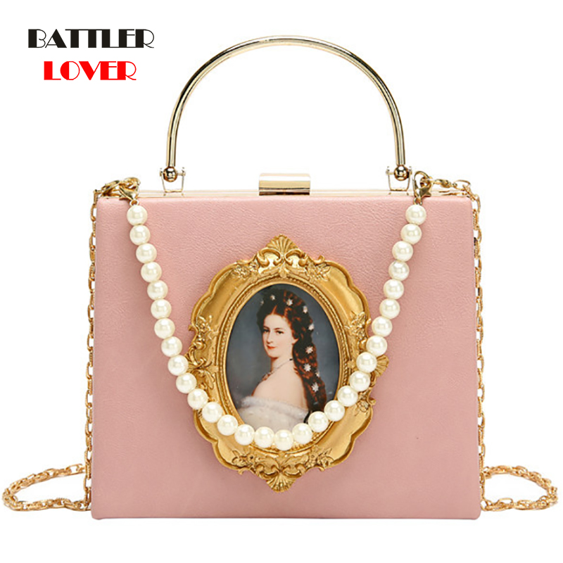 Fashion Box Evening Bag Diamond Clutch Bag Beauty Girl Pearl Luxury Handbag Banquet Party Metal HandlePurse Women