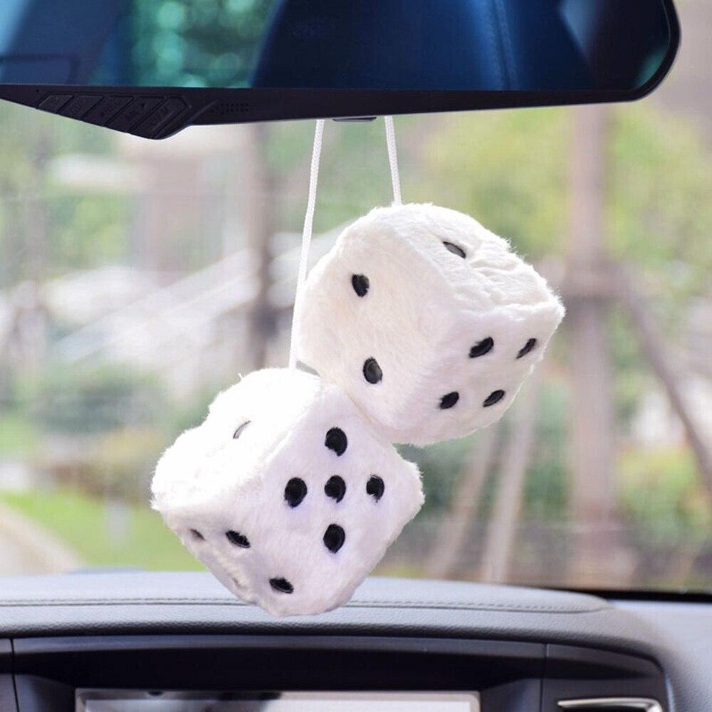 WINOMO Fuzzy Dice Hanging Charm auto auto specchietto retrovisore Hanging Accessori per auto decorazione rosso
