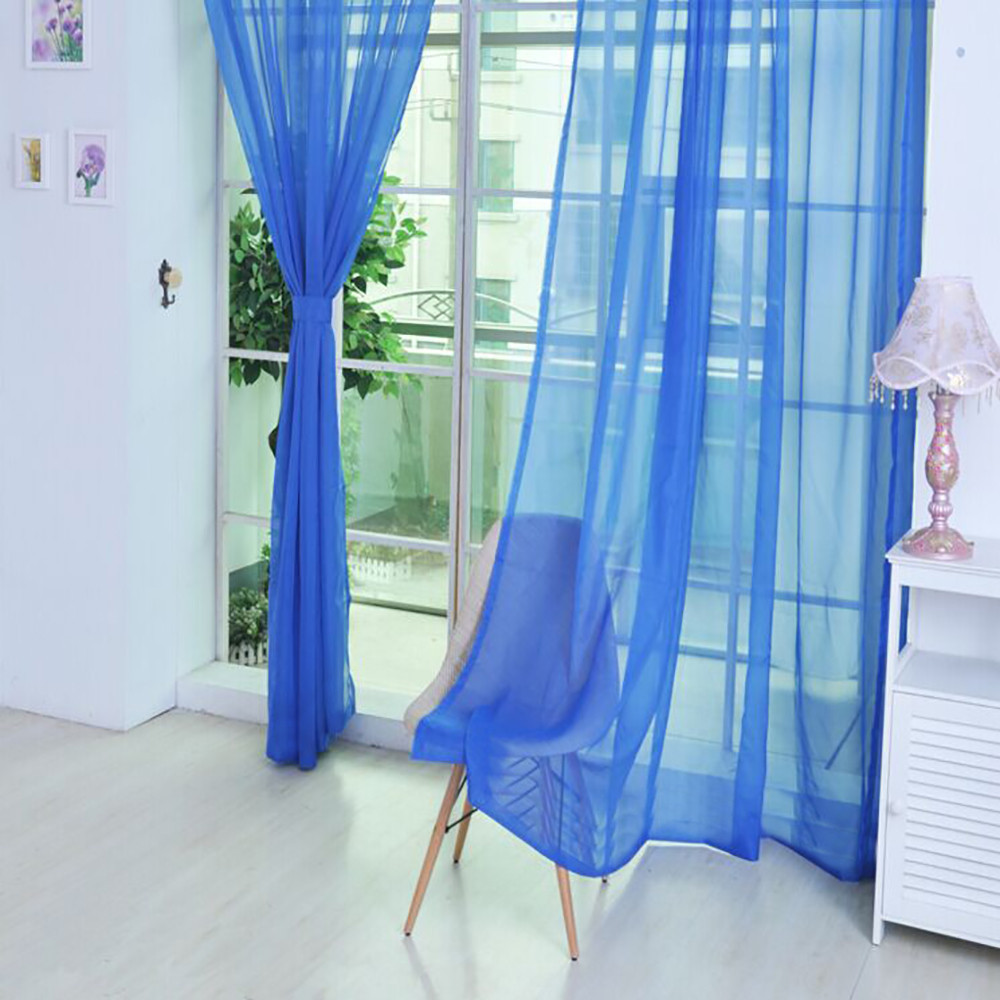 Curtain-Door Scarf Panel Valances-Room Tulle Sheer Window Modern Living--Bl5 Pure-Color title=