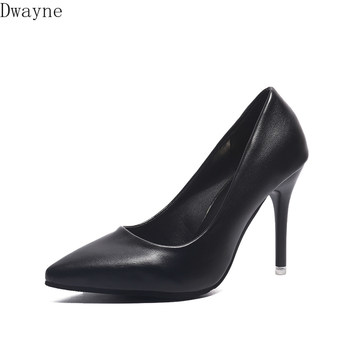 High Heels Ladies Thin Heels Pointed Soft Leather Shoes Career Formal Wear Black Work Single Shoes Fashion Womens Shoes Pumps