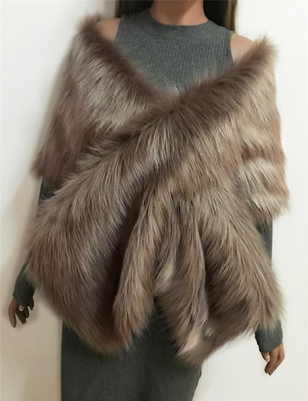 The autumn and winter new imitation fur big cape neck scarf multi-color joker scarf bride dress cross cape (6)