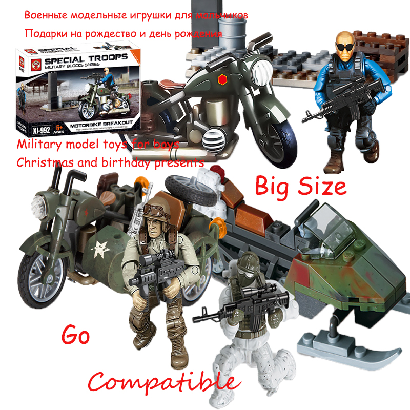 Legoing Weapon Set Warrior Ruins Breakout Series World Wars Kits Military Motorcycles Toys For Boy Compatible Army Soldier Block