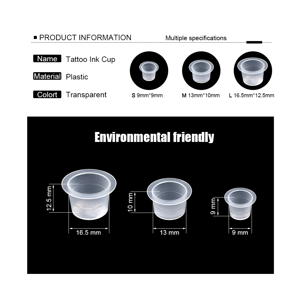 100Pcs Plastic Microblading Tattoo Ink Cup Cap Pigment Clear Holder Container S/M/L Size For Needle Tip Grip Power Supply