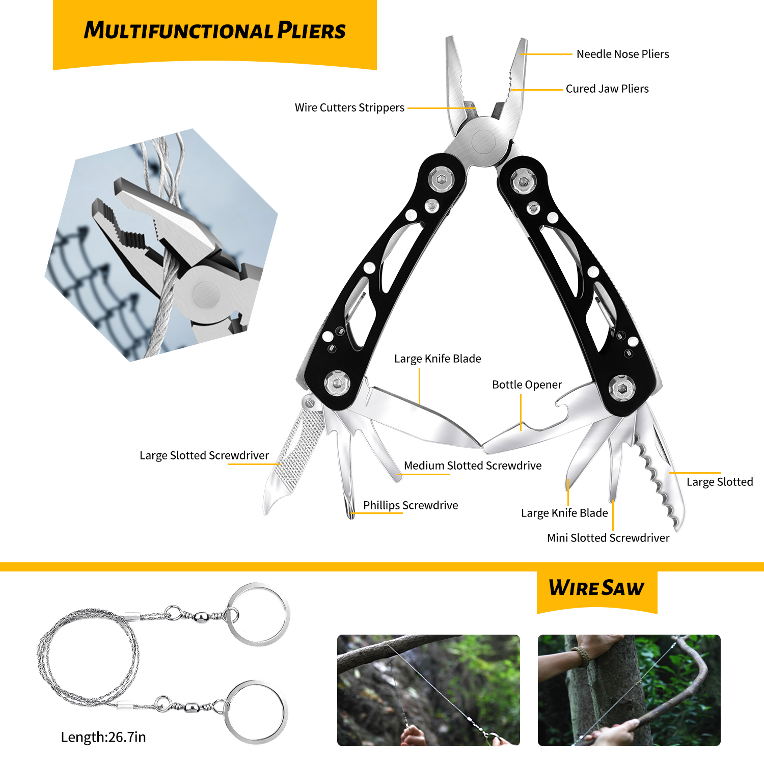 59 in 1 Emergency Survival Kit Pouch Camping Outdoor Hiking Multi Tool Set