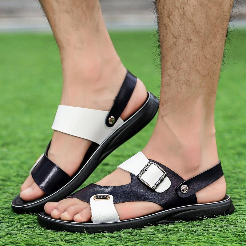 Men Sandals Split Leather Men Beach Sandals Brand Men Casual Shoes Men Slippers Outdoor Sneakers Summer Slippers Shoes