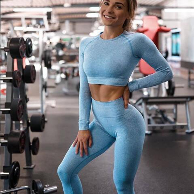 Workout Clothing Leggings Shirts Yoga-Set Sports-Suits Fitness Seamless Long-Sleeve High-Waist title=