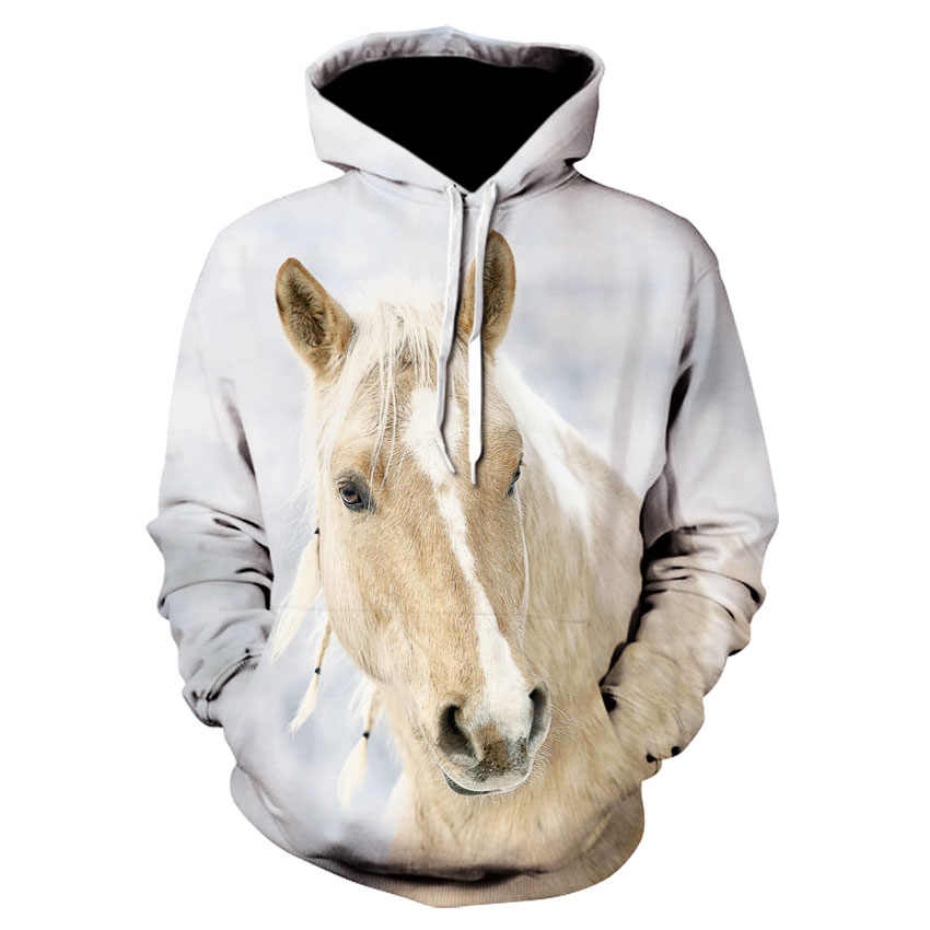 YUANOMWY 3D Printed Sweater,Black And Healthy Horse Animal,Light Green Halloween Muscle Scratch Art,Hoodies Autumn And Winter Hooded Sweater Loose Unisex Couple Student Sweatshirts