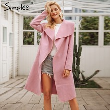 Simplee Black ruffle warm winter coat Women turndown long coat collar overcoat female Casual autumn 2016 pink outerwear(China)