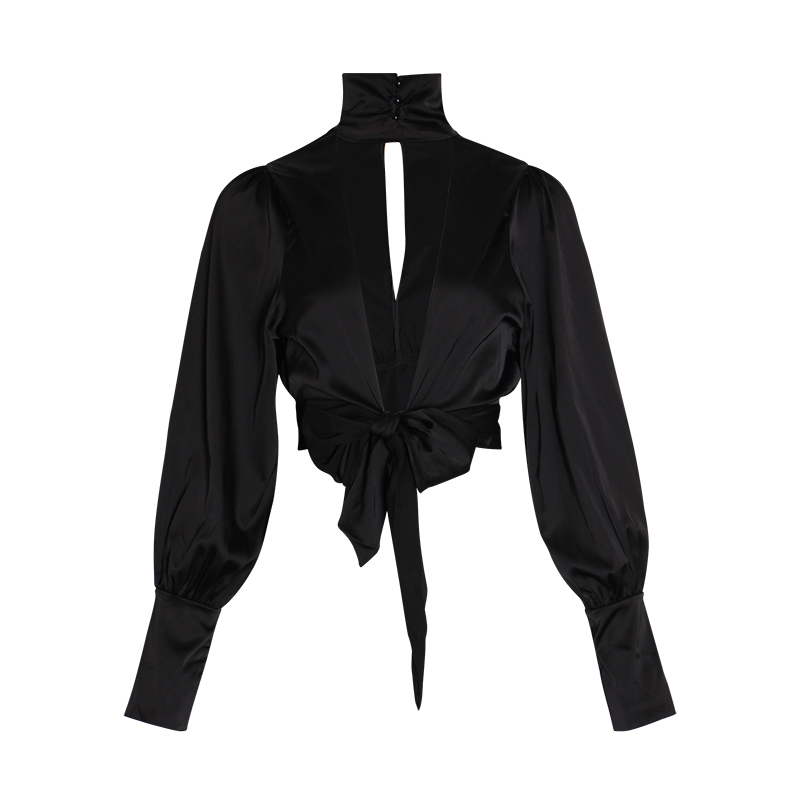 TWOTWINSTYLE Backless Women/'s Shirts Turtleneck Lantern Long Sleeve Bowknot Sexy Party Blouse Female 2019 Summer Fashion New