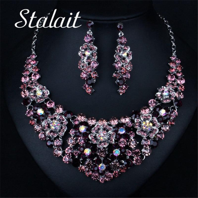 Wedding Bridal PROM Jewelry Set Rhinestone Crystal Beaded Necklace Earring