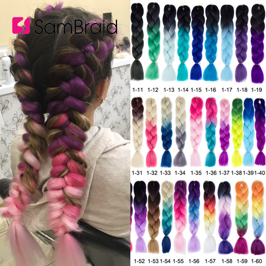 Sambraid 24 Inch Ombre Jumbo Braiding Hair For Jumbo Braids 100g/Pack False Hair Synthetic Crochet Braids Hair Extensions title=
