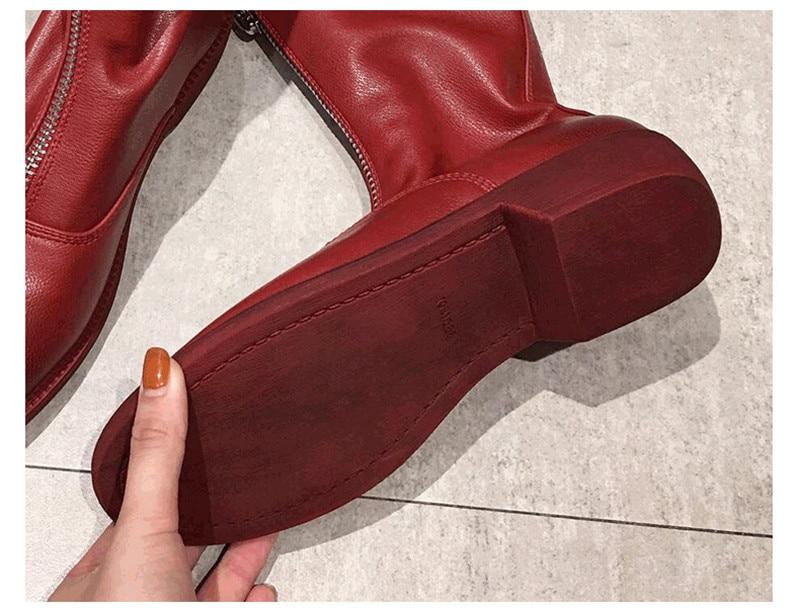 Winter Autumn Women Ankle Boots Punk Front Zipper Ladies Shoes PU Leather Boots Women Low Heels Female Shoes Pump Botas Mujer (2)
