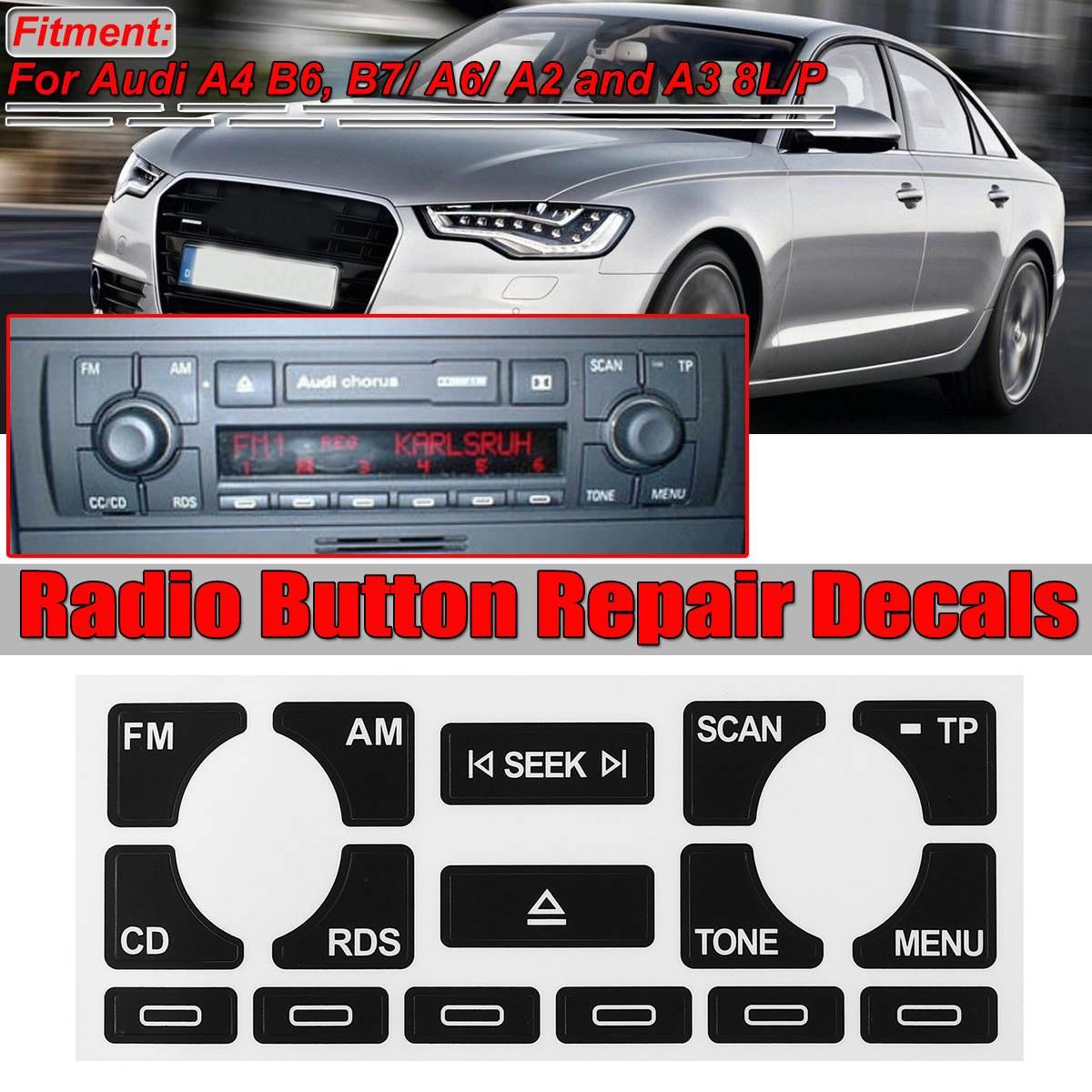 Nom de la couleur : 1pc Autocollant Autocollant Voiture R/éparation Bouton Climatiseur Autocollant For Audi A4 B6 B7 1pc 2000 /À 2004