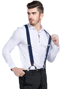 Fashion Suspenders Braces Trousers Vintage 6-Clips Casual Father/husband's Strap Black