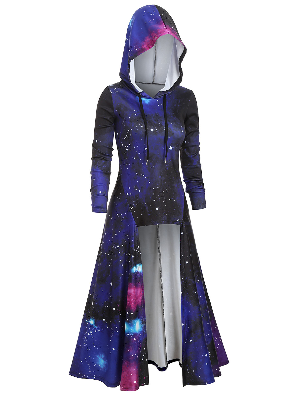 circle dress cross top with hood hoodie fashion rave doof boho womens festival short dress galaxy print hooded with skirt