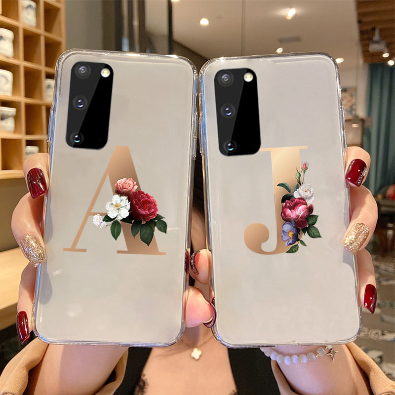26 English Name Letters Initial Case For Samsung Galaxy S20 Ultra S10 S9 Plus S8 S7 S6 Custom Flower Clear Silicone Phone Cover