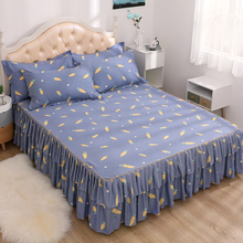 Cover Pillowcase Bedspread-Covers Bed-Skirt Ruffle Queen Non-Slip King Twin Print
